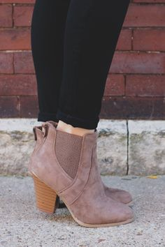 You can Never go Wrong with a basic pair of booties! These are the finishing touch to your skinny jean outfit. They are a pair of faux suede, almond toe, slip on ankle booties with stretch panels and High Heels, Shoes Heels, Cinderella Shoes, Cute Boots, Suede, Sock Shoes, Ankle Booties, Me Too Shoes, Heeled Boots