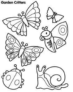 Coloring Page; Lovely Garden Critters. Great To Start at Pre School, Talk about these Critters.....and after that Color them.
