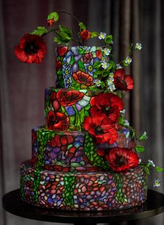 Stained Glass Wedding Cake - cake by Alex Narramore (The Mischief Maker) - CakesDecor