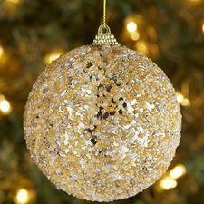 Beaded Ball Ornament - Gold