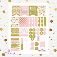 You will receive 39 Pink and Gold Weekly planner / journal stickers, that fit the Erin Condren Life Planners / The Happy Planners. Just choose