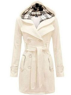 OURS Junior Girl's Double Breasted Wool Trench Coat Long Lapel Jacket With Belt (S, White) -- Read more  at the image link.