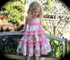 """SALE..Buy 2 get 1 free..""""Juliette""""..Sweetheart Neck Reverse Knot Girl's Tiered Ruffle Dress Instant Download PDF Sewing Pattern, 6-12 M to 8"""