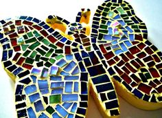 Stained Glass Mosaic Wood Butterfly Wall by earthmothermosaics