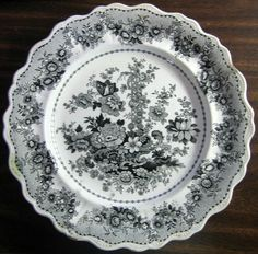 """Tuscan Rose"" black toile transferware 9"" fluted dish, circa 1841-1848. Identical piece on display in the Brooklyn Museum."
