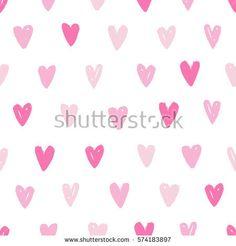 Pink heart seamless pattern. Vector hand drawn illustration