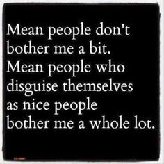 "Yep! ""Mean people don't bother me a bit. Mean people who disguise themselves as nice people bother me a WHOLE LOT."" www.oshuntravel.com"