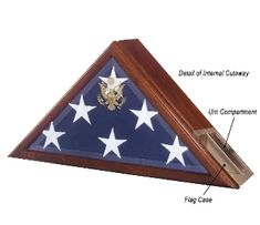 "Honor the memories of  a loved one in true patriotic style. The Eternity Case blends the functionality of a dignified urn with a display for a Presidential flag. The built-in urn compartment has a spacious 225"" capacity in the back of the flag case.  It also boasts the embossed Great Seal of the United States on an elegant beveled glass."
