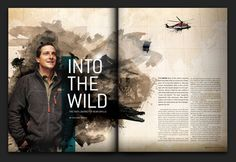 Editorial design for a Bear Grylls story for RELEVANT magazine. Magazine Page Design, Magazine Page Layouts, Page Layout Design, Book Design, Editorial Layout, Editorial Design, Layout Inspiration, Graphic Design Inspiration, Identity