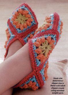 ... Granny square slippers on Pinterest | Crochet slippers, Granny squares