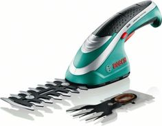 Bosch cordless shrub and grass shear set. Quality garden tool.