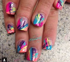 Colorful acrylic nails ❤️❤️