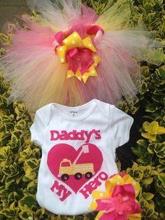 Daddy's My Hero Firetruck Tutu Set on Etsy, $35.00