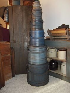 Stack of blue firkins