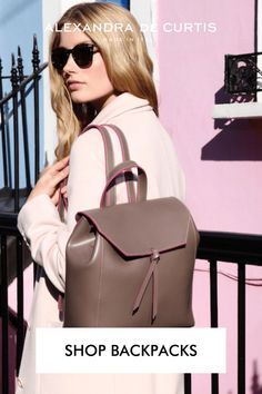 Shop our lightweight Italian leather backpacks. Get 10% off your first order at alexandradecurtis.com Italian Leather Handbags, Brown Leather Handbags, Millenial Pink, Pink Handbags, How To Make Handbags, Italian Fashion, Classic Leather, Leather Design, Ballet Flats