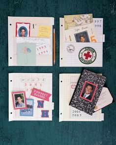 Organize and display your child's photographs, artwork, awards, and reports with notebook paper-inspired scrapbook pages.