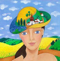 Letní klobouk Disney Characters, Fictional Characters, Woman, Bathroom, Disney Princess, Painting, Pictures, Washroom, Full Bath