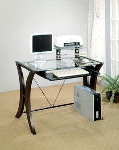 Coaster 800445 Modern Glass Top Computer Desk Las Vegas Furniture Online | LasVegasFurnitureOnline.com | LasVegasFurnitureOnline