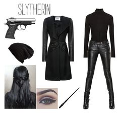 Slytherin - Spy Look by realslytherinpride on Polyvore featuring Prabal Gurung, Balmain, Donna Karan, Free People, Bellezza, harrypotter, slytherin and spy