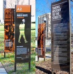 innovative outdoor signs The Birmingham Civil Rights Trail signage by Brook Hagler Museum Exhibition Design, Design Museum, Environmental Graphic Design, Environmental Graphics, Park Signage, Wayfinding Signs, Sign Board Design, Sign System, Outdoor Signage