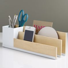Modern Wooden Desk Caddy from Dot & Bo. Shop more products from Dot & Bo on Wanelo. Desk Organization Diy, Diy Desk, Bureau Design, Student Storage, Desk Caddy, Ideias Diy, Wooden Desk, Dot And Bo, Desk Accessories