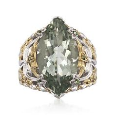 13.50 Carat Green Amethyst and  .28 ct. t.w. Diopside Ring In Sterling Two-Tone