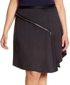 Look at this #zulilyfind! Black Asymmetric-Zip Skirt - Plus by Lane Bryant #zulilyfinds