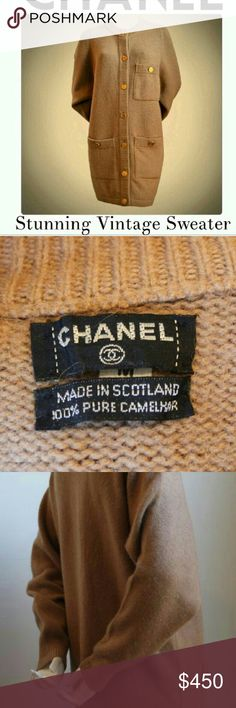"""Luxurious CHANEL Pure Camel Hair Cardigan Luxurious, exquisitely soft & warm CHANEL long cardigan sweater. 100% Pure Camel Hair From the late 80's. Pristine condition. Delightful signature CHANEL gold buttons w/ purse engraving. An absolute classic.   Buy with confidence via Poshmark's FREE Authentication Service! This beautiful vintage CHANEL sweater is 100% authentic.  Measurements:  Bust measures 38"""", shoulders 15"""", straight-drop waist 38"""", hips 38"""" and overall length is 34"""" Roomy…"""