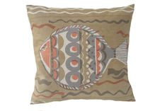 Large fish cushion 45x45cm orange Printed Cushions, Throw Pillows, Fish, Orange, Prints, Cushions, Decorative Pillows, Decor Pillows, Printmaking