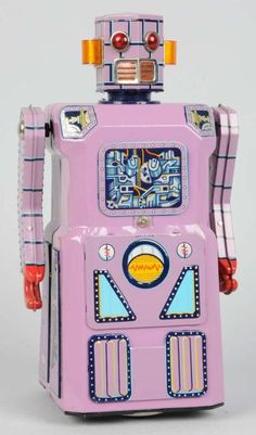 http://morphyauctions.auctionflex.com/showlot.ap?co=31120=28192=10263302=lotnumasc=20=PreviousLotInAuction=En  Tin Litho Nonstop Robot/Lavender Robot. One of the gang of five.  #Robot, #ModernToys, #Toy