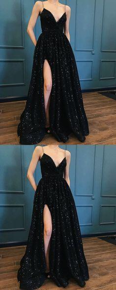 Black Prom Dress,spaghetti Straps Prom Gown,sexy Prom Dress,sequin Prom Dress With Split - Black Prom Dresses Black Sequin Prom Dress, Sequin Prom Dresses, Prom Dresses 2018, Black Prom Dresses, Sexy Dresses, Black Sequins, Dress Lace, Prom Dress Long, Long Dresses