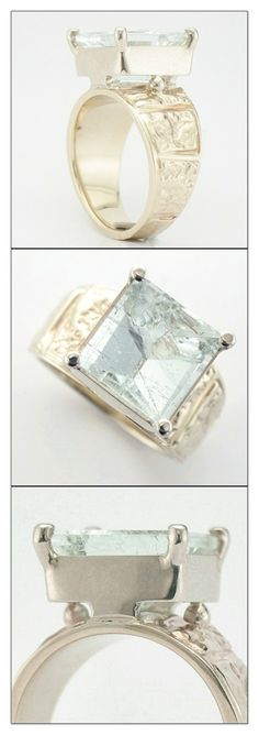 """""""Water"""" Ring by Micky Roof for The Jewelbox in Ithaca, NY - Water Rings, For You Blue, Precious Metals, Jewelry Design, White Gold, Gems, Jewels, Beautiful, Jewerly"""