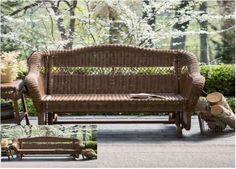Wicker Resin Double Rocker LoveSeat Patio Outdoor Porch Seat Walnut Home