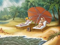Bugs Bunny and Lola Bunny on vacation by I-BugsBunny-I on DeviantArt Looney Tunes Characters, Looney Tunes Cartoons, Old Cartoons, Beach Cartoon, Cartoon Pics, Cartoon Art, Adventure Time Cartoon, Disney Princess Cartoons, Disney Cartoons