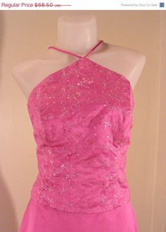 ON SALE 80s Hot Pink 2 Piece Maxi Dress Corset by VendageTresors