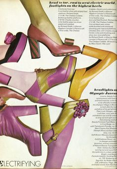 an editorial by Barry Lategan from Vogue UK, August 1972 platform shoes pink yellow orange stripes pumps heels slingback sandals buckle slip on bow black color print ad magazine Seventies Fashion, 70s Fashion, Fashion History, Fashion Shoes, Vintage Fashion, British Fashion, Vogue Fashion, 70s Shoes, Shoes Ads