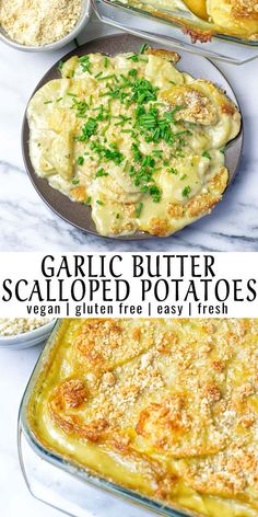 My Garlic Butter Scalloped Potatoes are so incredibly easy and delicious. With just 5 ingredients you are ready to enjoy a gluten free and vegan potato recipe that you won't forget. potato al horno asadas fritas recetas diet diet plan diet recipes recipes Vegan Recipes Easy, Whole Food Recipes, Cooking Recipes, Vegan Recipes With Potatoes, Gluten Free Vegan Recipes Dinner, Cooking Tips, Dessert Recipes, Easy Potato Recipes, Garlic Recipes