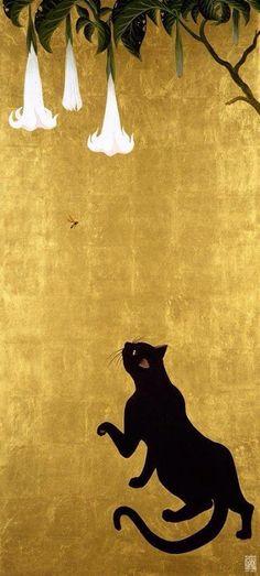 Muramasa Kudo, Cat and Wasp, Gold Leaf & acrylic on canvas