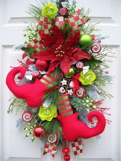 Christmas Elf Boot Swag Wreath Alternative Candy Jingle Bells Red and . Christmas Swags, Christmas Door Decorations, Noel Christmas, Christmas Centerpieces, Holiday Wreaths, Christmas Projects, Christmas Ornaments, Burlap Christmas, Primitive Christmas