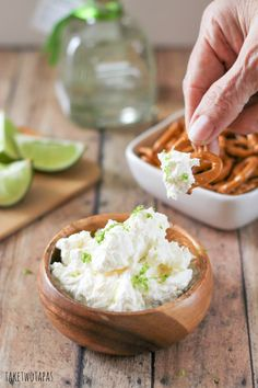 This dip, loaded with lime flavor, pairs well with salty pretzels! Margarita Dip with Pretzels Recipes | Take Two Tapas #TriplePFeature
