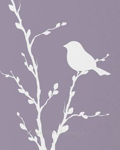 Sweet Lavender print of bird on Pussy Willow branch - etsy.com