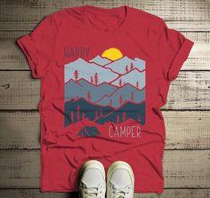 2b993935 Men's Happy Camper T Shirt Sunset Shirts Camping Tee Nature Tshirt  Wanderlust Clothing. Travel Shirts ...