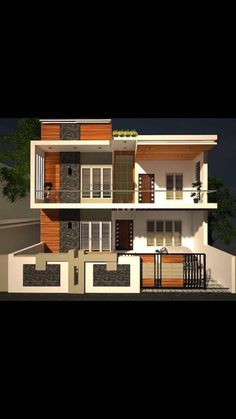 Browse through the details of Stunning and Luxurious 30 feet by 40 feet plot 3 BHK Home Designs and Plans that can be built within your minimal budget. 3d Home Design, Duplex House Design, Simple House Design, Home Design Plans, Cool House Designs, Wall Design, House Elevation, Front Elevation, Building Elevation