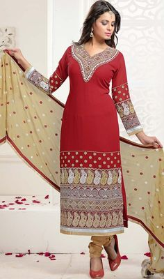 Give yourself a unique sheen dolled up in this churidar suit in red color embroidered georgette. The lace, patch and resham work appears to be like chic and ideal for any occasion.  #georgettedresses #longsalwarsuit #embroidereddress