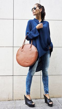 """Items similar to NEW """" Dark Pumpkin"""" Genuine Leather Bag / High Quality Tote Circle Large Bag / zipper close up / Unique Bag by AAKASHA on Etsy Big Size Fashion, Merian, Pumpkin Colors, Blue Suede Shoes, Unique Bags, Leather Bags Handmade, Beautiful Bags, My Bags, Everyday Fashion"""
