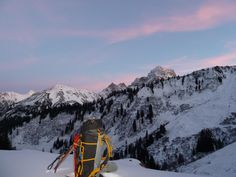 Rucksack mit Sonnenuntergang