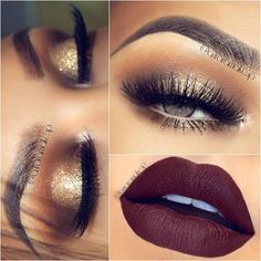 Designer 3 smokey gold eye- think holiday with specs of glitter on inner eye to mid eye. lips wine down with in the mood in center