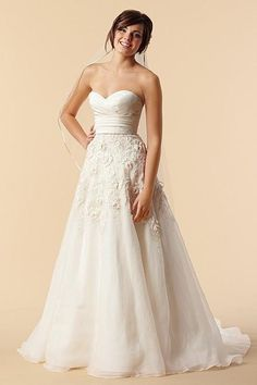 Watters Lasara Floral Strapless Wedding Dress - Watters - Nearly Newlywed Bridal Boutique - 1