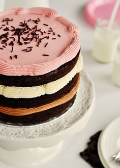 Inside-Out Neopolitan cake