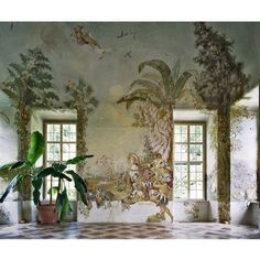 Fridays we go extra special 🎉🎉. Look at this magnificent mural. And the stone flooring. I wish you all a happy Friday evening. Interior Architecture, Interior And Exterior, Interior Decorating, Interior Design, Stone Flooring, Wall Treatments, My New Room, Fresco, Interior Inspiration